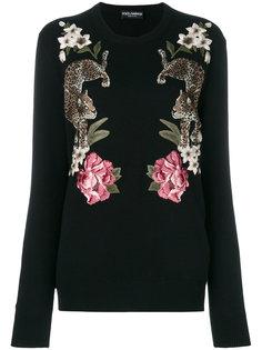 джемпер с вышивкой леопардов Dolce & Gabbana