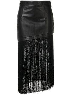 асимметричная юбка с бахромой Helmut Lang