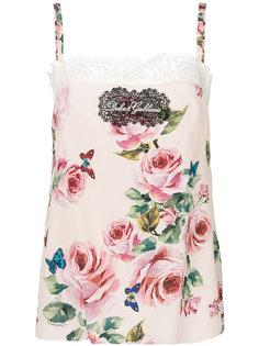 топ на бретелях с цветочным принтом Dolce & Gabbana