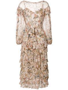 платье с цветочным принтом и рюшами Zimmermann