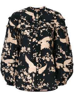 блузка с рюшами и принтом птиц Nº21