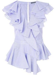 полосатая блузка с оборками  Alexander McQueen
