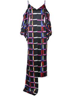 плдлинное платье в клетку Solace London