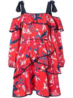 платье с открытыми плечами и оборками  Tanya Taylor