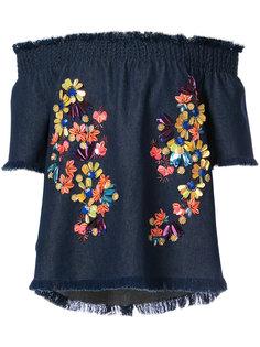 блузка с цветочной отделкой  Tanya Taylor