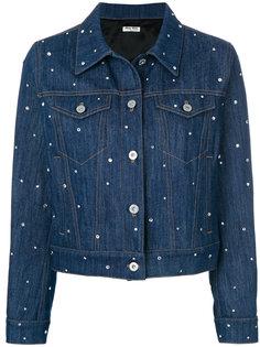 джинсовая куртка с украшением из кристаллов Miu Miu