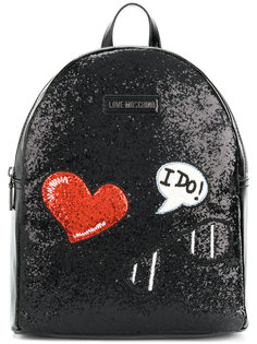рюкзак с вышивкой и блестящей отделкой Love Moschino
