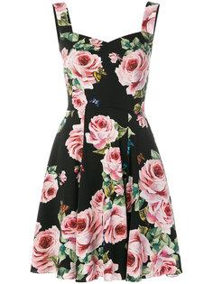 расклешенное платье  с принтом роз Dolce & Gabbana