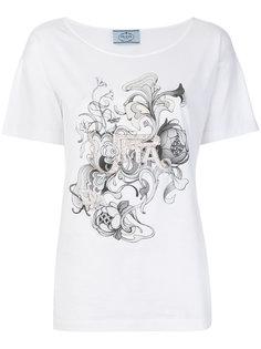 футболка с цветочным принтом и пайетками Prada