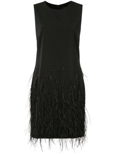 короткое платье с отделкой перьями  Saloni