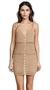She Made Me Sita Cotton Crochet Mini Dress