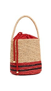Sensi Studio Striped Straw Bucket Bag