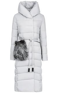 Длинное пальто на синтепоне с отделкой мехом чернобурки Malinardi