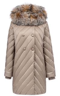 Пальто с отделкой мехом лисы Laura Bianca