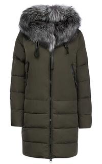 Куртка на синтепоне с отделкой мехом чернобурки Malinardi