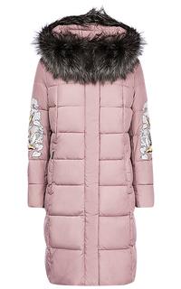 Длинная куртка на синтепоне с отделкой мехом чернобурки Malinardi