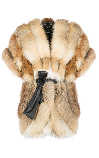 Жилет из меха лисы с поясом Les Tchaous