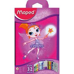 Пенал с наполнением для детей FAIRY, 32 предмета, Maped
