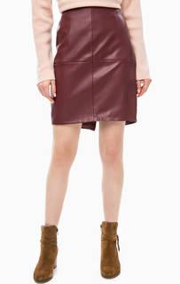 Короткая бордовая юбка с разрезом Ichi