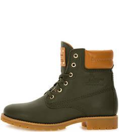 Демисезонные кожаные ботинки цвета хаки Panama Jack