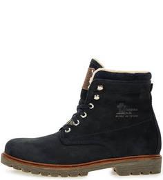 Синие утепленные ботинки из нубука Panama Jack