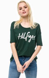 Футболка зеленого цвета с принтом Hilfiger Denim
