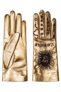 Золотистые перчатки с вышивкой Gucci