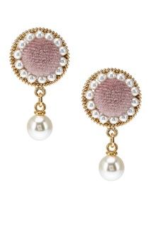 Бархатные серьги с жемчужинами розовые Ruby Novich