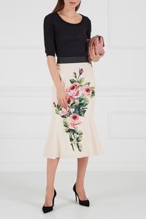 Шелковая юбка с розами Dolce & Gabbana