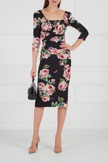 Шелковое платье с драпировками Dolce & Gabbana
