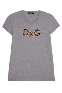 Меланжевая футболка с логотипом Dolce & Gabbana