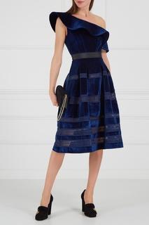 Синее бархатное платье Self Portrait