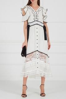 Белое платье с контрастной отделкой Self Portrait