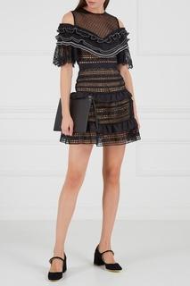 Черное платье-мини с оборками Self Portrait