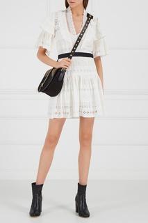 Белое платье из вышитого хлопка Self Portrait