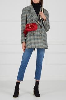 Кожаная сумка с бархатом Snapshot красная Marc Jacobs