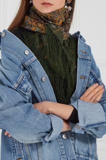 Зеленый платок с восточным орнаментом Павловопосадская Платочная Мануфактура