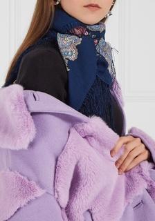 Синий платок с розами Павловопосадская Платочная Мануфактура