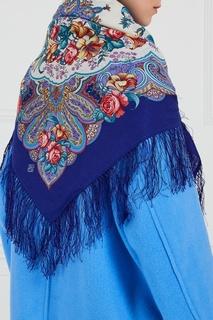 Синий платок с розами и лилиями Павловопосадская Платочная Мануфактура
