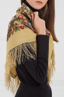 Желтый платок с полевыми цветами Павловопосадская Платочная Мануфактура