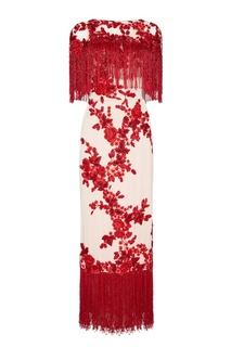 Платье с контрастной вышивкой бисером Marchesa