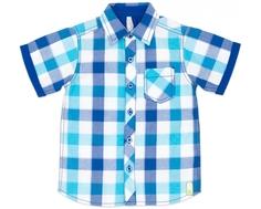 """Сорочка с коротким рукавом для мальчика Barkito """"Динозаврики"""", бело-голубая"""
