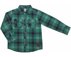 Рубашка для мальчика Barkito «Веселый динозавр 1», зеленая с рисунком «клетка»