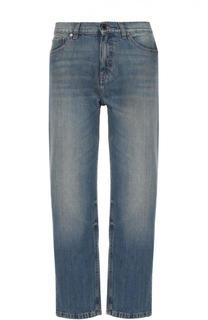 Укороченные джинсы прямого кроя с потертостями Victoria by Victoria Beckham