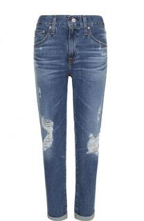Укороченные джинсы с отворотами и потертостями Ag