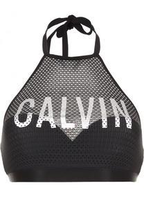 Перфорированный бра с логотипом бренда Calvin Klein Underwear