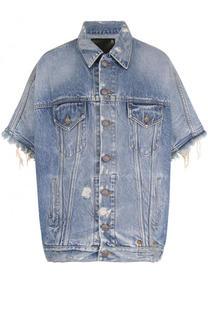 Джинсовая куртка с потертостями и коротким рукавом R13