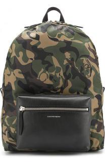 Текстильный рюкзак с камуфляжным принтом и кожаной отделкой Alexander McQueen