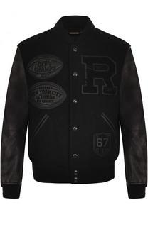 Шерстяной бомбер на кнопках с кожаными рукавами Ralph Lauren