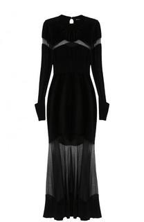 Вязаное платье-макси с прозрачными вставками Alexander McQueen